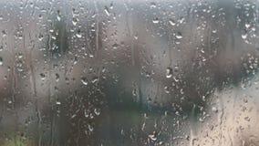 Le gocce di pioggia sulle finestre della famiglia stock footage