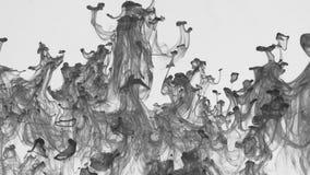 Le gocce di pittura nera aumentano dal basso verso l'alto sotto l'acqua stock footage