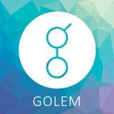 Le Golem GNT decentalized le logo mondial de vecteur d'ordinateur géant et de criptocurrency Image stock