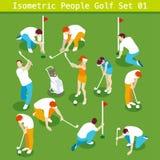 Le golf a placé 01 personnes isométriques Photos stock