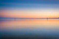 Le Golfe du Mexique au coucher du soleil, vu de la plage de Smathers, Key West Photographie stock