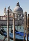 Le gondole galleggiano davanti ai Di Santa Maria della Salute della basilica a Venezia Immagini Stock Libere da Diritti