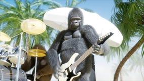 Le gorille e le scimmie divertenti giocano sulla chitarra e sui tamburi Partito della roccia sulla spiaggia soleggiata rappresent royalty illustrazione gratis