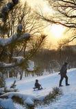 Le gosse avec le père en stationnement de l'hiver Photographie stock libre de droits