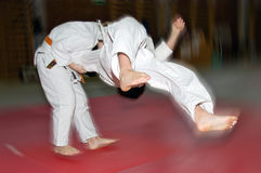 Le gosse de judo gagne un combat Photo stock
