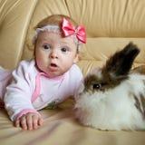 Le gosse et le lapin Photo libre de droits