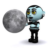le goth 3d punk regarde la lune illustration stock