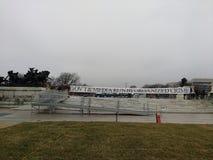 Le gouvernement et le media courent par la criminalité organisée, protestataires avant le ` s mars, Washington, C.C, Etats-Unis d Image libre de droits