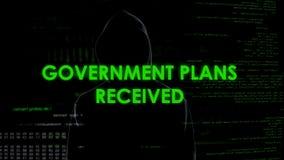 Le gouvernement prévoit l'attaque reçue et effrayante de la défense de pays de planification de pirate informatique d'ombre images stock