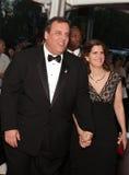 Le Gouverneur Chris Christie avec le tapotement Christie de Mary Photos stock