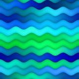 Le gradient onduleux horizontal sans couture de vert bleu de trame raye la texture de l'eau illustration stock