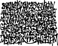 Le graffiti étiquette le fond dans le noir au-dessus du blanc Images stock