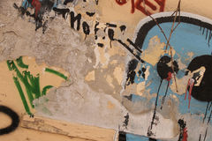Le graffiti a couvert le mur Photo stock