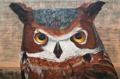 Le graffiti d'un hibou dans le secteur des studios de rue d'hiver à Houston, le Texas Image libre de droits