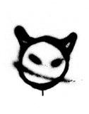 Le graffiti a pulvérisé l'émoticône de diable dans le noir sur le blanc Photos libres de droits