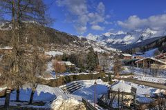 Le Grand-Bornand village, Alps, France. Le Grand-Bornand village in winter, Alps, France Royalty Free Stock Photos
