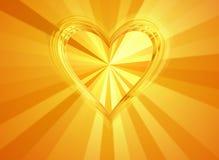 le grand coeur de l'or 3d avec le soleil rayonne des milieux Images libres de droits
