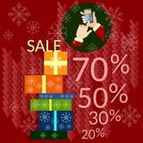 Le grand commerce électronique de vente de Noël escompte des cadeaux d'achats de Noël Images libres de droits