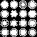 Le grand ensemble d'éléments de conception, lacent autour du napperon de papier, napperon pour décorer le gâteau, calibre pour co illustration de vecteur