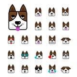 Le grand ensemble d'émoticône plate de bande dessinée de chien brun fait face à Characte Images stock