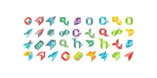 Le grand ensemble d'ensemble de symbole multicolore géométrique minimal forme Icônes et logotypes à la mode Les affaires signent  Photographie stock