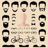 Le grand ensemble de vecteur de habillent le constructeur avec différentes coupes de cheveux de hippie d'hommes, verres, barbe et illustration de vecteur