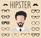 Le grand ensemble de vecteur de habillent le constructeur avec différents verres de hippie d'hommes, moustache Le mâle fait face  illustration libre de droits