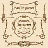 Le grand ensemble de vecteur de vintage ropes des coins et des cadres Dirigez la collection de cordes de hippie avec des endroits Photo stock