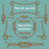 Le grand ensemble de vecteur de vintage ropes des coins et des cadres Le hippie câble la collection avec des endroits pour votre  illustration libre de droits