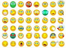 Le grand ensemble méga de collection d'Emoji font face à des icônes d'émotion illustration stock