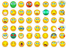 Le grand ensemble méga de collection d'Emoji font face à des icônes d'émotion d'isolement Illustration de vecteur illustration stock