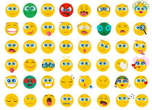 Le grand ensemble méga de collection d'Emoji plat font face à des icônes d'émotion Photo stock