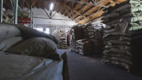 Le grand entrepôt avec des paquets de pâtes à la fabrication de macaronis image stock
