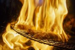Le grand feu superbe pendant griller le porc délicieux Photographie stock libre de droits