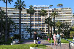 Le Grand Hotel in Cannes Croisette royalty-vrije stock afbeelding