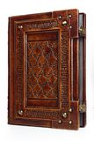 Le grand livre attaché en cuir avec le ` latin de ` des textes memento mori a gravé plusieurs fois comme cadre photographie stock