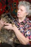 Le grand-mère disent des contes avec le minou Photo stock