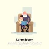 Le grand-père Sit With Grandson In Armchair a lu le petit enfant de livre illustration libre de droits