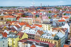 Le grand paysage urbain de synagogue et de Pilsen République Tchèque Photo stock
