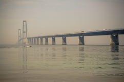 Le grand pont en ceinture au Danemark Photographie stock libre de droits