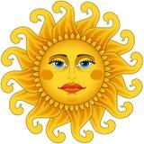 Le grand soleil chaud d'or. illustration libre de droits