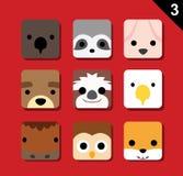 Le grand vecteur plat de bande dessinée d'icône d'application de visages d'animal a placé 3 (US) illustration stock