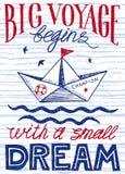 Le grand voyage commence par un petit rêve Affiche tirée par la main de vintage avec le lettrage de citation Copie inspirée et de Image stock