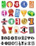 Le grandi guarnizioni #1 di numero uno e la raccolta dei distintivi illustrazione di stock