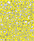 Grandi icone di Doodle messe Immagine Stock
