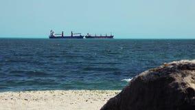 Le grandi navi da carico all'orizzonte allineano in oceano aperto archivi video