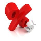 Le grandi percentuali rosse cedono firmando un documento il piccolo simbolo del dollaro Immagine Stock Libera da Diritti