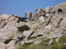 Le granit bascule avec la végétation méditerranéenne, vallée du ` s de lune, Testa de capo, Santa Teresa Gallura, Italie image libre de droits