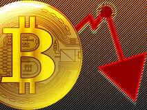 Le graphique d'or d'accident de bitcoin dans les cycles paniquent indicateur de zone de vente illustration libre de droits