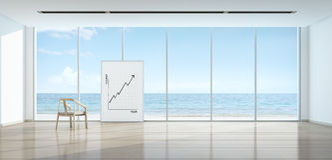 Le graphique de concept d'affaires de tourisme dans la pièce de vue de mer, échouent l'avant Photo stock